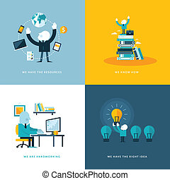 ikony, płaski, handlowy, projektować