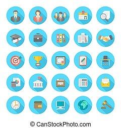 ikony, płaski, okrągły, streszczenie