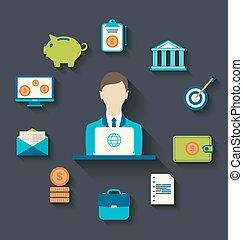 ikony, płaski, projektować, finansowy, handlowy