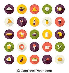 ikony, płaski, restauracja, projektować