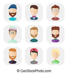 ikony, płaski, styl, ludzie