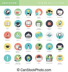 ikony, płaski, wykształcenie, projektować