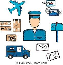 ikony, pocztowy, listonosz, dookoła