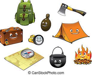 ikony, podróż, komplet, obozowanie, rysunek