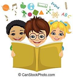 ikony pojęcia, przelotny, powinowaty, wyobraźnia, dzieciaki, czytanie, wykształcenie, książka, na zewnątrz.
