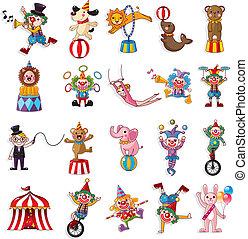 ikony, pokaz, szczęśliwy, cyrk, zbiór, rysunek