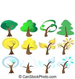 ikony, pory, cztery, drzewo