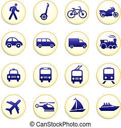 ikony, przewóz, elementy, projektować