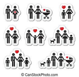 ikony, rodzina, pregna, ludzie, -, niemowlę