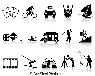 ikony, rozrywka, komplet, wolny czas