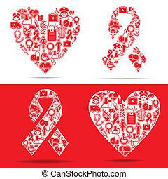 ikony, serce, ustalać, wsparcia, medyczny