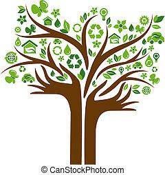 ikony, siła robocza, drzewo, dwa, ekologiczny