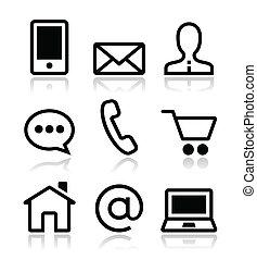 ikony, sieć, komplet, kontakt, wektor