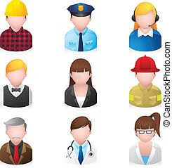 ikony, sieć, ludzie, profesjonalny, 2, -