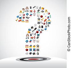 ikony sieći, pytanie, karta, marka