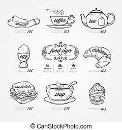ikony, styl, doodle, tło, menu, .vector, rocznik wina, pociągnięty, chalkboard