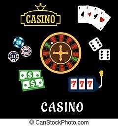 ikony, symbolika, kasyno, płaski, hazard