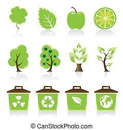 ikony, twój, komplet, 12, środowiskowy, zielony, projektować, idea