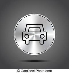 ikony, wóz, odizolowany, metaliczny, ciemny, wektor, tło