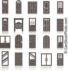 ikony, wejście, odizolowany, drzwi, komplet, przód