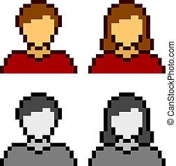 ikony, wektor, avatar, samica, samiec, pixel