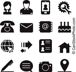 ikony, wektor, komplet, ilustracja, kontakt
