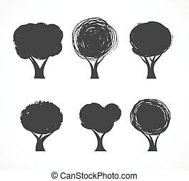 ikony, wektor, zbiór, drzewo