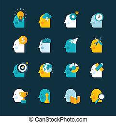 ikony, wystawiany zamiar, płaski, pojęcie