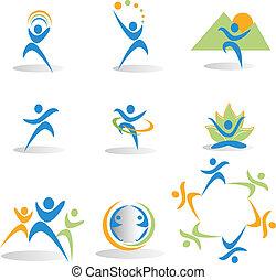 ikony, yoga, natura, towarzyski, zdrowie