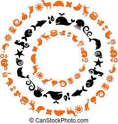 ikony, -, zbiór, planeta, ekologiczny, zwierzę