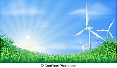 illustratio, krajobraz, turbiny, wiatr