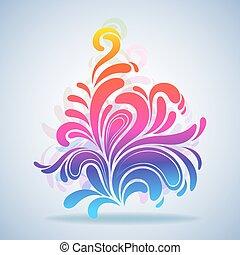 illustration., barwny, bryzg, abstrakcyjny, element, wektor, projektować