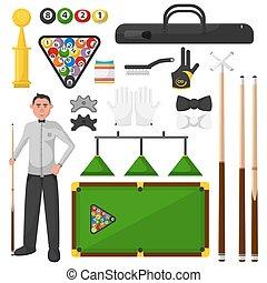 illustration., billiardist, equipment., gra, płaski, bilard