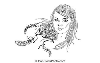 illustration., clothes., wektor, elementy, dziewczyna, włosy, dreamcatcher., luźny, twarz, adults., kolorowanie, piękny, abstrakcyjny, fason, hair., książka