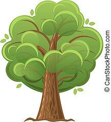 illustration., drzewo, dąb, wektor, zielony, foliage., rysunek, bujny