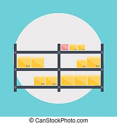 illustration., ikony, magazynowanie, wektor, logistyka, czysty, magazyn, przewóz