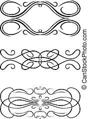 illustration., kolor, trzy, jeden, curves., wektor, barok