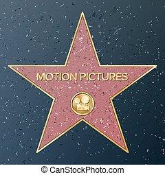 illustration., ruch, wektor, reprezentujący, gwiazda, klasyk, chodnik, sławny, pomnik, film aparatu fotograficzny, pictures., publiczność, chód, osiągnięcie, fame., boulevard., hollywood