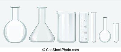 illustration., szkło, nauka, set., chemiczny, wyposażenie, wektor, laboratorium