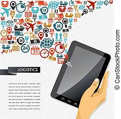 illustration., tabliczka, ikony, app, okrętowy, ręka, ludzki, skład