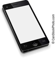 illustration., telefon, ruchomy, ekran, realistyczny, wektor, szablon, czysty, biały, 3d
