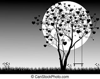 illustration., valentine, księżyc, drzewo, valentine, day., wektor, tło