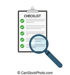 illustration., wektor, icon., checklist, szkło powiększające