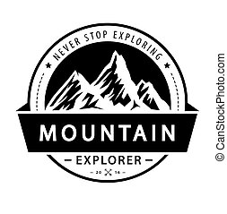 illustration., wektor, logo, przygoda, emblem., retro, góra