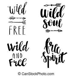 illustration., wektor, phrases., wolny, tytuł, duch, styl, dusza, ręka, pociągnięty, komplet, cytuje, wolny, elements., dziki, boho