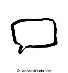 illustration., wektor, szczotka, grunge, mowa, ręka, pociągnięty, bubble.