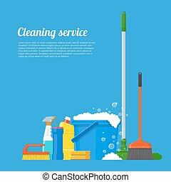 illustration., wektor, towarzystwo, narzędzia, czyszczenie, służba, projektować, dom, styl, płaski, pojęcie, afisz