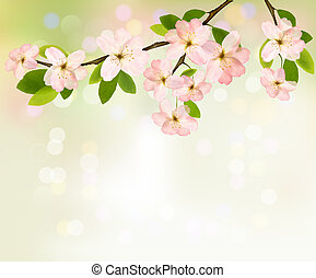 illustration., wiosna, kwitnąc, drzewo, flowers., wektor, tło, przekąska