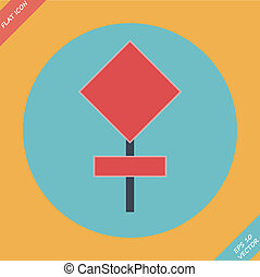 illustration., -, znak, wektor, droga, czysty, czerwony