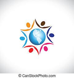 ilustracja, żyjący, multi, pokój, środek, ludzie, razem, globalny, ludzie, współposiadanie, graficzny, harmonia, wyobrażenia, świat, icon., rasowy, łączący